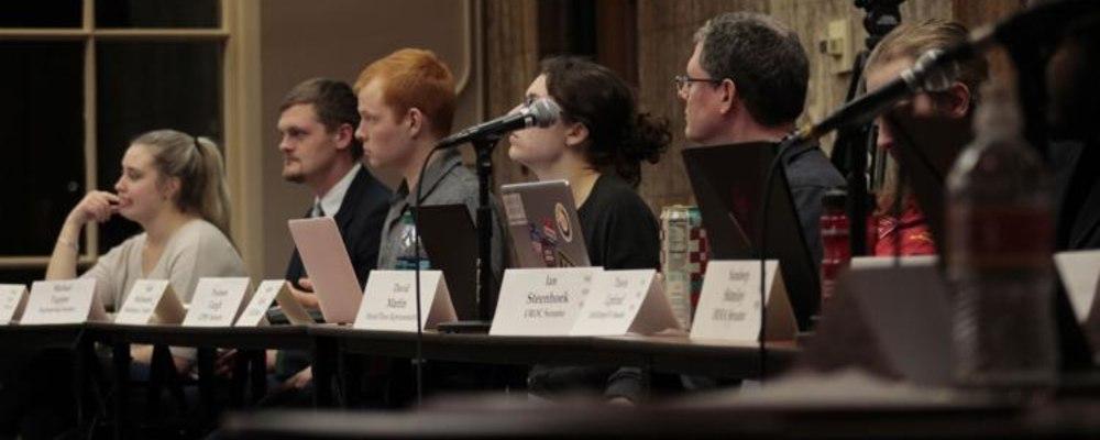 Senators Michael Tupper, Adam Steffensmeier, and Analese Hauber during joint City Council meeting 2019