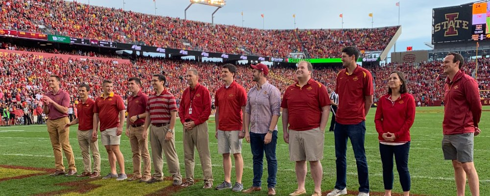 Student Body Presidents from 2005 to 2020 recognized during the CyHawk game